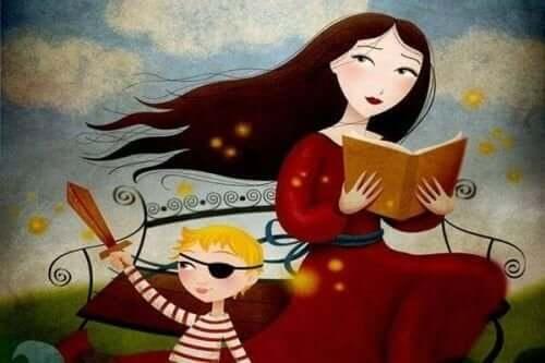 Çocuğuna kitap okuyan bir anne