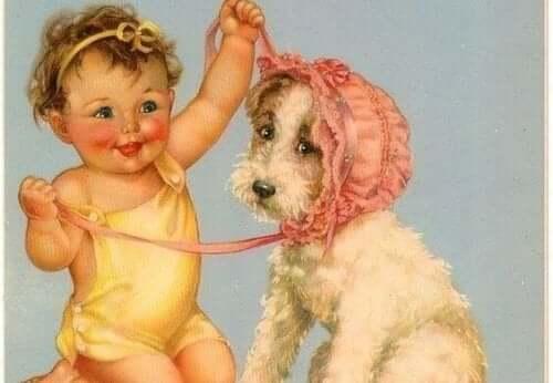 köpekle oynayan bebek