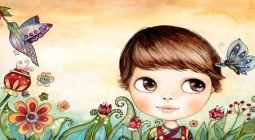 çiçek bahçesinde bir kız
