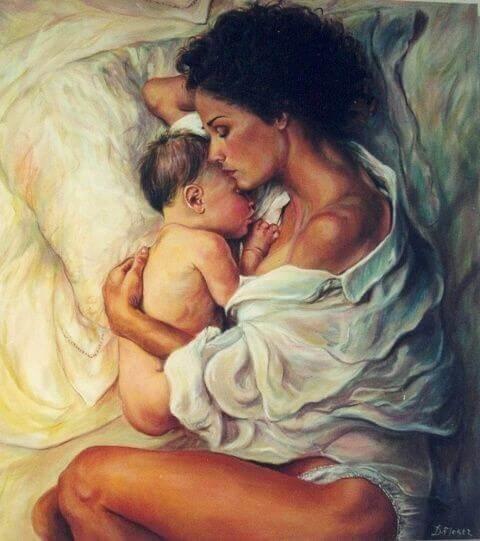 birbirine sarılan anne ve bebek