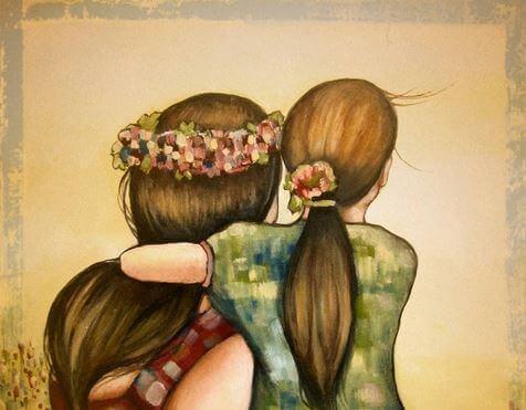 birbirine sarılan anne kız