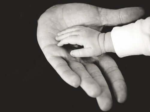 ebeveyn ve bebek eli içiçe