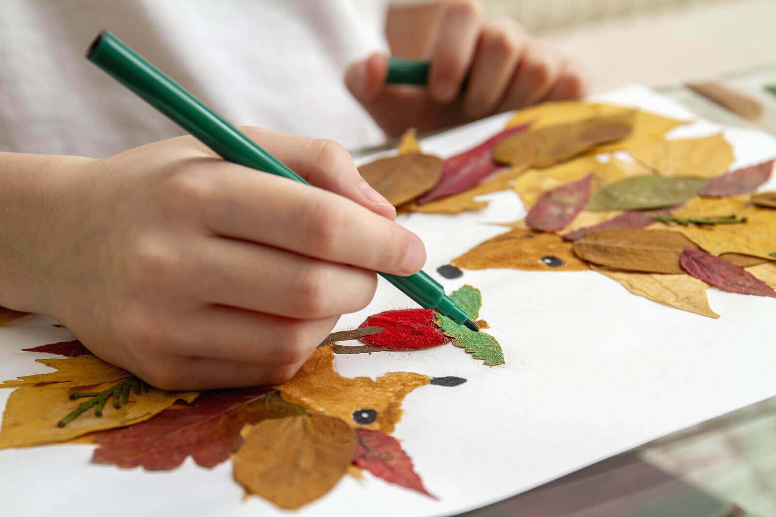 Bitkileri keşfetmek için yaprak boyama