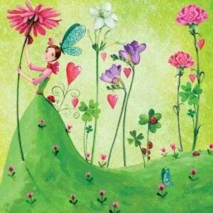 çiçekler ve kız