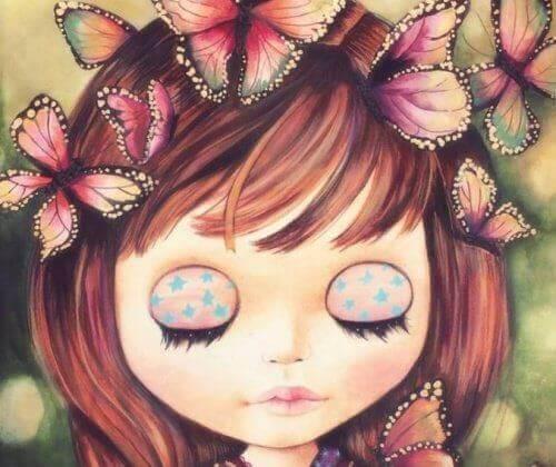 gözleri kapalı bir kız