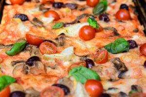 pizza yakın plan sağlıklı fast food
