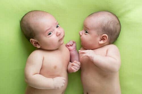 Yeşil örtü üstünde yatan ikiz bebekler